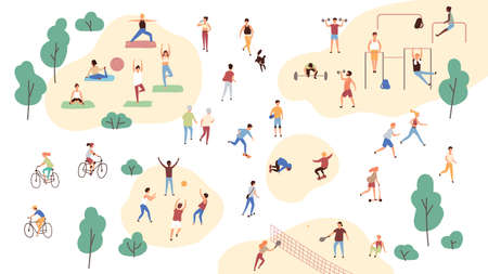 Group of people performing sports activities at park - doing yoga and gymnastics exercises, jogging, riding bicycles, playing ball game and tennis. Outdoor workout. Flat cartoon vector illustration.