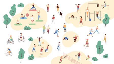 Grupo de personas que realizan actividades deportivas en el parque: ejercicios de yoga y gimnasia, trotar, andar en bicicleta, jugar al juego de pelota y tenis. Entrenamiento al aire libre. Ilustración de vector de dibujos animados plana Ilustración de vector