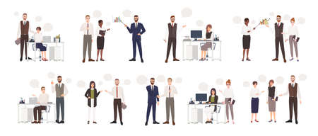 Set of male and female office workers talking to each other. Business people or clerks communicating with colleagues, negotiating, making presentations. Flat cartoon colorful vector illustration