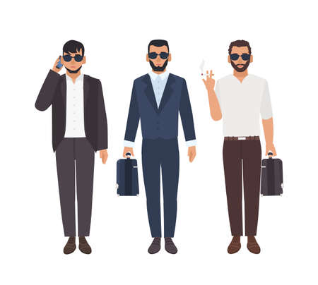 Set of bearded caucasian men dressed in business clothing carrying briefcases, talking on phone, smoking. Cool guys or mafia members. Male characters isolated on white background. Vector illustration.
