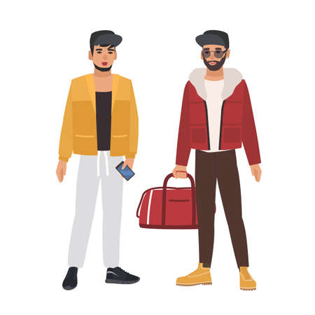 Pair of caucasian men wearing casual clothing and caps, holding phone and bag, talking to each other. Meeting of two friends. Male cartoon characters isolated on white background. Vector illustration