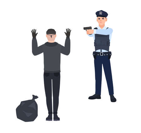 Policeman in police uniform pointing gun at robber or burglar. Cop arresting thief standing with hands up. Detention of criminal. Cartoon characters isolated on white background. Vector illustration.