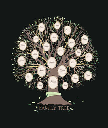 Stylized family tree or pedigree chart template with branches and round photo frames isolated on black background. Ancestry visualization, dynasty ancestors and descendants. Vector illustration. Vettoriali