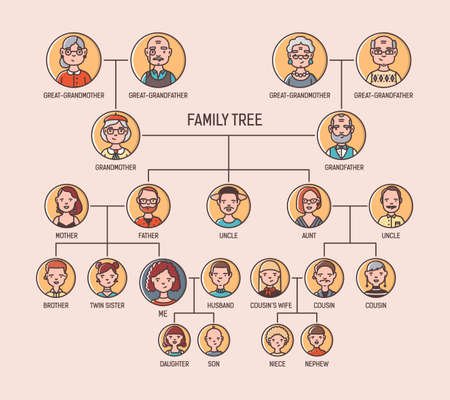 Ancestry chart template with portraits of men and women in round frames. Visualization of links between ancestors and descendants, family members. Modern colorful vector illustration.