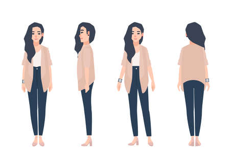 Young smiling woman with loose long brunette hair dressed in casual clothing isolated on white background. Cute girl wearing jeans and cardigan. Front, side, back views. Cartoon vector illustration.