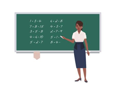 Female math teacher writing mathematical expressions on green chalkboard. Ilustrace