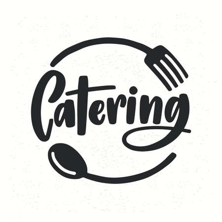 Catering company icon with lettering written with calligraphic cursive font decorated with cutlery or kitchenware. Illustration