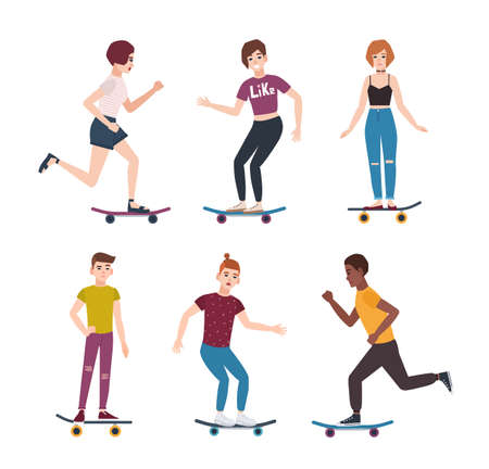 Collection of modern teenage skater boys and girls riding skateboards. Set of young teenagers skateboarding. Cute cartoon characters isolated on white background. Vector illustration in flat style.  イラスト・ベクター素材