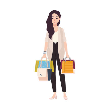 Young smiling brunette woman dressed in casual clothing holding shopping bags isolated on white background. Long haired girl with her purchases, shopaholic. Flat cartoon colorful vector illustration. 向量圖像