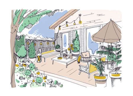 Freehand drawing of backyard patio or terrace furnished in Scandinavian hygge style. House veranda with modern furniture. Stylish home outdoor interior design. Hand drawn vector illustration.