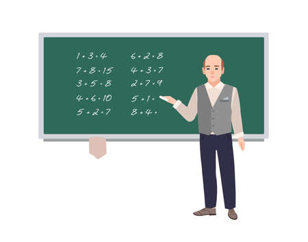 Male school math teacher writing mathematical expressions on green chalkboard. Smiling man teaching mathematics or arithmetic. Cartoon character isolated on white background. Vector illustration. Stock Illustratie