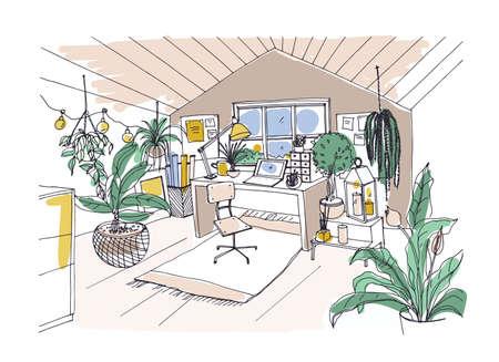 Gekleurde schets van gezellige kast, zolderkamer of zolderkamer ingericht in trendy Scandinavische hygge-stijl en versierd met lichte slingers, kaarsen, lantaarns, potplanten. Hand getrokken vectorillustratie. Stock Illustratie
