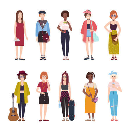 Collection of teenage girls dressed in trendy clothing. Set of young modern female teenagers in stylish outfits. Flat cartoon characters isolated on white background. Colorful vector illustration. Vettoriali