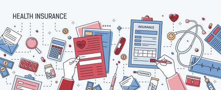 Banner horizontal con manos rellenando el formulario de solicitud de seguro de salud rodeado de dólares, documentos en papel, equipos y herramientas médicas, píldoras. Ilustración de vector color en estilo de arte de línea.