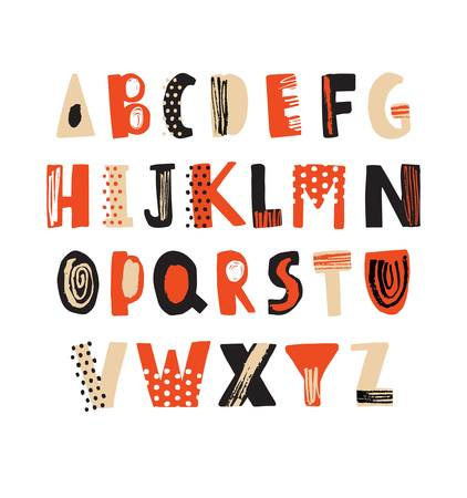 Creative hand drawn latin font or hipster english alphabet decorated with dots and scribbles. Bright colored letters arranged in alphabetical order isolated on white background. Vector illustration. Vectores