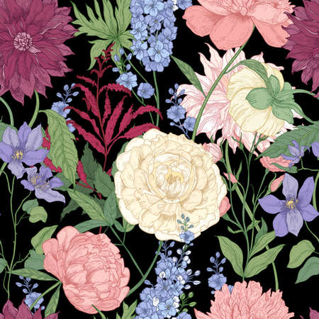 Floral seamless pattern with elegant flowers and flowering plants used in floristry hand drawn on black background. Natural vector illustration in vintage style for fabric print, wrapping paper.