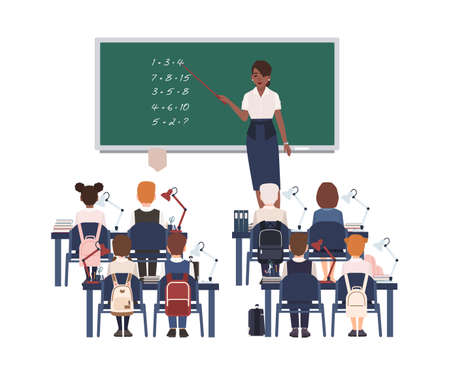 Female math teacher explaining summation to elementary school kids or pupils. Smiling African american woman teaching mathematics or arithmetic to children sitting in class. Vector illustration. Ilustração