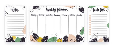 Creative weekly planner with week days, sheet for notes and to do list templates decorated with paint strokes and tropical monstera leaves. Modern scheduler with exotic foliage. Vector illustration.