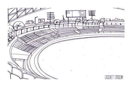 Freehand sketch of cricket stadium with rows of seats, electronic scoreboard and grassy field or lawn. Sports arena for British team bat-and-ball game. Monochrome hand drawn vector illustration.