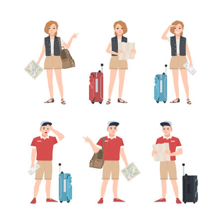 Collection of male and female travelers with map standing in various poses. Set of man and woman tourists trying to find touristic location or destination. Flat cartoon colorful vector illustration. Vectores
