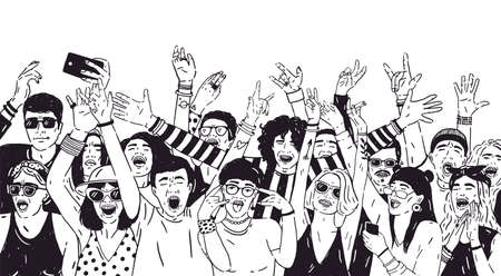 Crowd of excited people or music fans with raised hands. Spectators or audience of summer open air festival. Hand drawn with black contour lines on white background. Monochrome vector illustration.