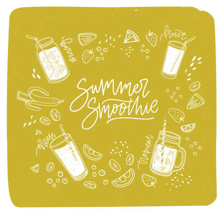 Summer Smoothie lettering written with cursive font surrounded by refreshing drinks or fresh delicious beverages and outlines of exotic fruits, berries, vegetables. Hand drawn vector illustration.