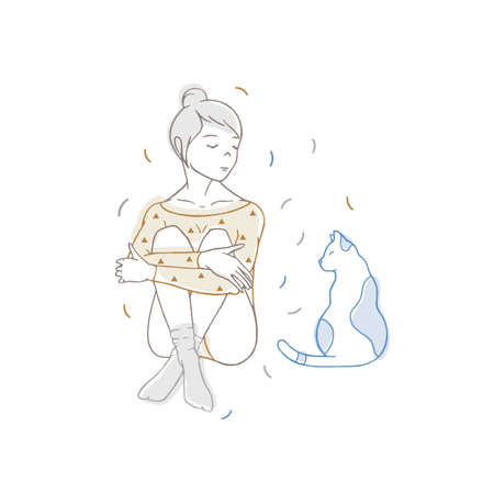 Pretty girl wearing bodysuit and socks sitting with crossed legs and looking at cat. Young woman and her cute pet animal. Hand drawn with contour lines on white background. Colored vector illustration.