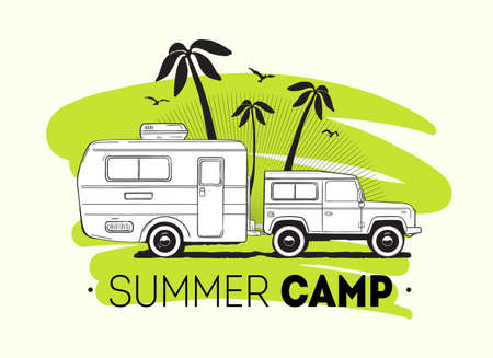 Car towing caravan trailer or travel camper against palm trees on background and Summer Trip lettering. Recreational vehicle for road journey or seasonal camping. Vector illustration for logo, ad.