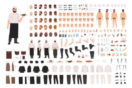 Chef, Koch oder Küchenarbeiter Kreationsset oder Bausatz. Sammlung von Körperteilen, Gesichtsausdrücken, Körperhaltungen, Kleidung. Männliche Zeichentrickfigur. Vorder-, Seiten- und Rückansichten. Farbige vektorabbildung.