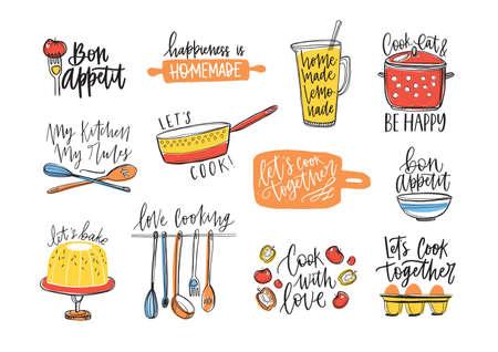 Fascio di iscrizioni scritte a mano con carattere calligrafico corsivo e decorate con utensili da cucina e cibo. Set di eleganti scritte e strumenti per la cottura o la preparazione del cibo illustrazione vettoriale. Vettoriali