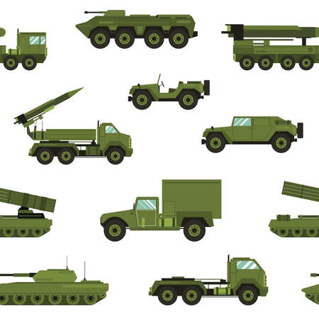 Seamless pattern with military transport on white background - tank, artillery tractor, rocket launching system. Backdrop with combat vehicles of various types. Realistic vector illustration