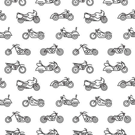 Seamless pattern with motorcycles of various types drawn with black contour lines on white background - chopper, bobber, sport and motocross bikes. Vector illustration in modern lineart style