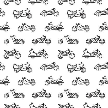 Patrón sin fisuras con motocicletas de varios tipos dibujadas con líneas de contorno negras sobre fondo blanco - motos chopper, bobber, deportivas y motocross. Ilustración de vector en estilo moderno lineart