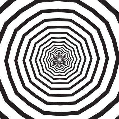 Abstract square background with polygonal black and white swirl, helix or vortex. Backdrop with psychedelic rotating effect or spiral hypnotic pattern. Geometric monochrome vector illustration.