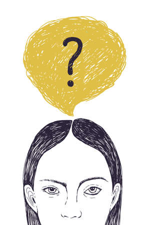 Head of young woman and thought bubble with interrogation point inside. Portrait of thoughtful girl thinking about problem solving and answering inner questions. Hand drawn vector illustration. Banque d'images