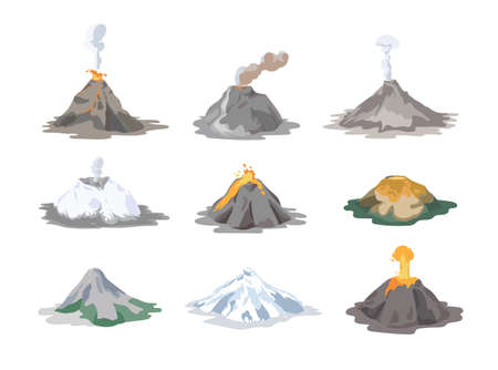 Collection of inactive and active volcanoes erupting and emitting smoke, ash clouds and lava isolated on white background. Bundle of volcanic eruptions. Colorful vector illustration in flat style. Stock Photo