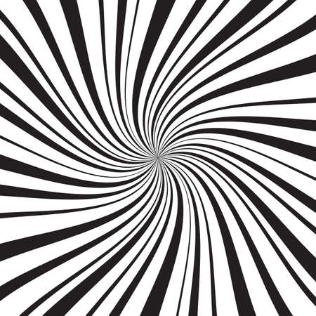 Geometric background with thin and thick radial rays, lines or stripes swirling around center. Backdrop with rotating illusion or hypnosis effect. Modern vector illustration in monochrome colors.