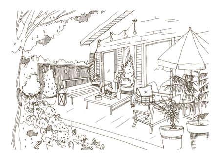 Croquis à main levée du patio ou de la terrasse de l'arrière-cour meublé dans un style scandinave. Véranda de la maison avec des meubles modernes tendance dessinés à la main avec des lignes de contour sur fond blanc. Illustration vectorielle