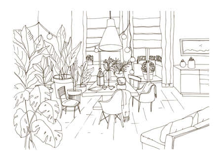 Contour drawing of cozy dining or living room furnished in trendy Scandic hygge style with table, chairs, couch. Lounge area full of stylish furniture and home decorations. Vector illustration.