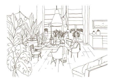 Disegno di contorno di un'accogliente sala da pranzo o di un soggiorno arredato in stile scandic hygge alla moda con tavolo, sedie, divano. Salotto pieno di mobili eleganti e decorazioni per la casa. Illustrazione vettoriale