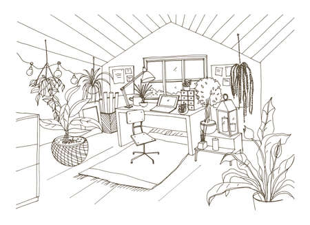 Monochrome drawing of cozy cabinet, mansard or attic room furnished in modern Scandinavian hygge style and decorated with light garlands, candles, potted plants. Hand drawn vector illustration