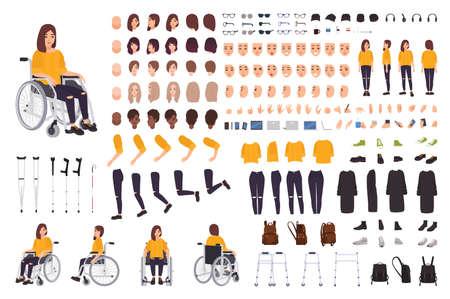 Giovane donna disabile nel costruttore di sedie a rotelle o kit fai-da-te. Set di parti del corpo, espressioni facciali, stampelle, deambulatore. Personaggio dei cartoni animati femminile. Vista frontale, laterale, posteriore. Illustrazione vettoriale