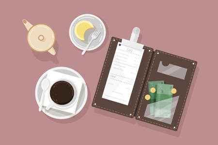 Cup of coffee, dessert on plate, creamer and opened bill holder with restaurant check and cash money, top view. Customer s payment for cafe service. Colorful vector illustration in flat style. Stock fotó - 98988690
