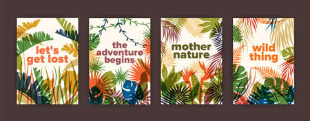 Bundle of poster templates with colorful translucent leaves of tropical jungle plants and inspiring slogans. Set of bright colored foliage of exotic palm trees. Modern vector illustration.