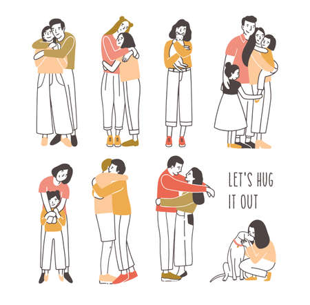 Collection of pairs of hugging or cuddling people - romantic partners, friends, pets and owners, parents and kids. Set of cute cartoon characters isolated on white background. Vector illustration.  イラスト・ベクター素材