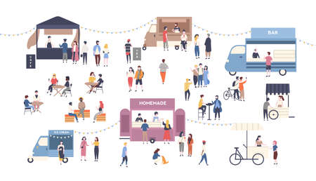 Summer outdoor street food festival. People walking between vans or caterers, buying meals, eating and drinking, taking selfie, talking to each other. Flat cartoon colorful vector illustration.  イラスト・ベクター素材