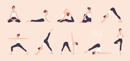 Collection of young woman performing physical exercises. Bundle of female cartoon character demonstrating various yoga positions isolated on light background. Colorful flat vector illustration. Reklamní fotografie - 99115585