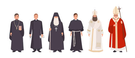 Collection of monks, priests and religious leaders of Catholic and Orthodox christian churches. Bundle of clergymen or male flat cartoon characters isolated on white background. Vector illustration. Illustration