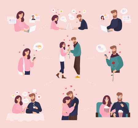 Colección de hombre y mujer que usa un sitio web o una aplicación móvil para salir o buscar pareja romántica en Internet. Linda pareja que se conoció en línea. Ilustración de vector colorido de dibujos animados plana.