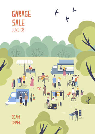 Modern flyer or poster template for garage sale or outdoor festival with food trucks, walking people, men and women buying and selling goods at park. Flat cartoon vector illustration for event promo. Vettoriali